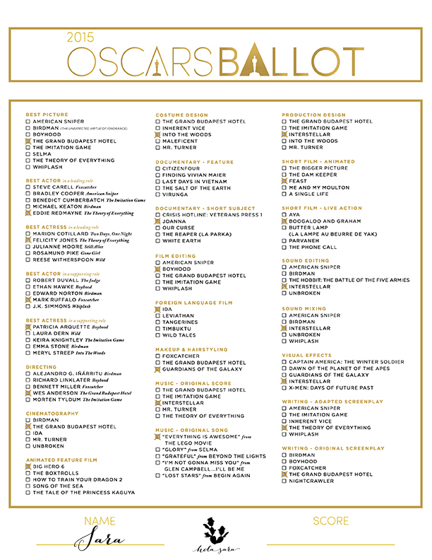 Nfl Football Pools further 2016 Golden Globe Awards Printable Ballot moreover 2016 Primetime Emmy Nominations Announcement as well Oscar Predictions Part 1 Technical Awards And Writing further Oscars 2015 87th Academy Awards Winners. on printable oscars 2017 predictions